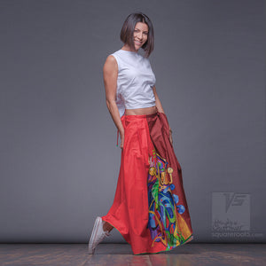 Unusual wrap around avant-garde red skirt.