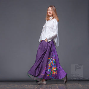 "Long cotton skirt ""Samurai Girl"", model ""Cosmic Violet""  With avant-garde and colorful print, designed by Squareroot5 wear"