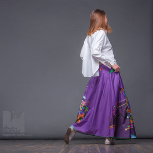 Futuristic long Summer ladies skirt. Unique birthday gifts for her.