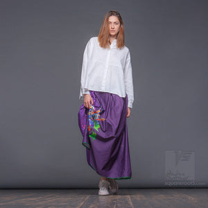 Avantgarde modern maxi long skirt with bright abstract pattern by Squareroot5 wear