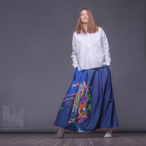 "Long cotton skirt ""Samurai Girl"", model ""Cosmic Dark Blue"" With avant-garde and colorful print, designed by Squareroot5 wear"