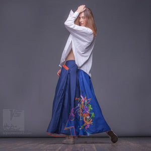 Non traditional maxi dark-blue skirt. Japanese stile. Experimental fashion