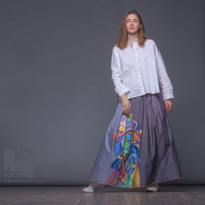 "Long cotton skirt ""Samurai Girl"", model ""Solar grey""  With avant-garde and colorful print"