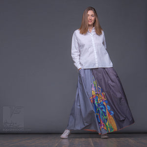 "Long summer grey semi pleated skirt ""Samurai girl"". Innovation design by Squareroot5 wear."