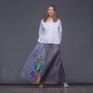 "Long cotton skirt ""Samurai Girl"", model ""Solar Gray"" With avant-garde and colorful print, designed by Squareroot5 wear"