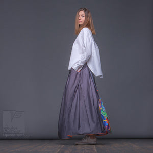 "Maxi cotton skirt ""Samurai girl"" Experimental design. Unique gifts for her"