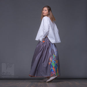 Futuristic long Summer ladies skirt. Unique birthday gifts for her