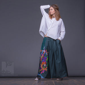 "Long cotton skirt ""Samurai Girl"", model ""Cosmic Emerald""  With avant-garde and colorful print, designed by Squareroot5 wear"