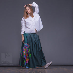 "Experimental Long cotton skirt ""Samurai Girl"", model ""Cosmic Emerald""  With Avant-garde and colorful print"