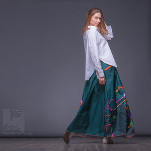 Asymmetrical long maxi summer emerald skirt. Unique birthday gifts for her.