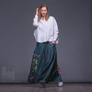 Unusual wrap around avant-garde emerald skirt for creative woman