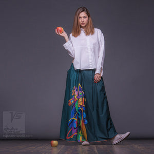 "Long cotton skirt ""Samurai Girl"", model ""Solar Emerald""  With avant-garde and colorful print"