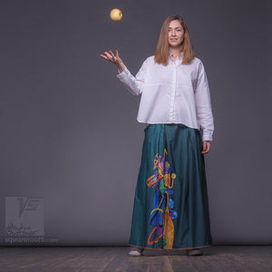 Non traditional maxi emerald skirt. Green long skirt by Squareroot5 wear