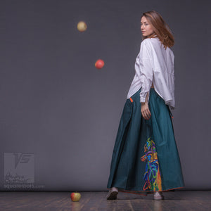 "Long cotton skirt ""Samurai Girl"", model ""Solar Emerald""  With Avant-garde  and colorful print, designed by Squareroot5 wear"