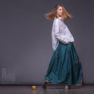 "Innovation maxi emerald skirt with abstract pattern. ""Samurai girl"""