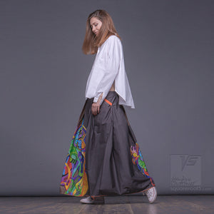 "Long cotton skirt ""Samurai Girl"", model ""Solar Ochre"" 2 With avant-garde and colorful print, designed by Squareroot5 wear"