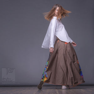 "Long cotton skirt ""Samurai Girl"", model ""Solar Ochre"" 4 With avant-garde and colorful print, designed by Squareroot5 wear"