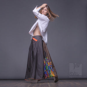 "Long cotton skirt ""Samurai Girl"", model ""Solar Ochre"" 5 With avant-garde and colorful print, designed by Squareroot5 wear"