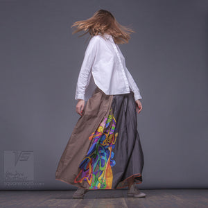 "Long cotton skirt ""Samurai Girl"", model ""Solar Ochre"" 1 With avant-garde and colorful print, designed by Squareroot5 wear"