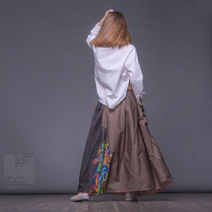 "Long cotton skirt ""Samurai Girl"", model ""Solar Ochre"" 6 With avant-garde and colorful print, designed by Squareroot5 wear"