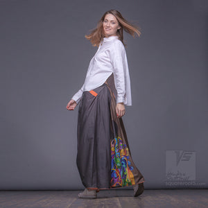 "Long cotton skirt ""Samurai Girl"", model ""Solar Ochre"" 7 With avant-garde and colorful print, designed by Squareroot5 wear"