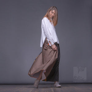 "Long cotton skirt ""Samurai Girl"", model ""Solar Ochre"" 8 With avant-garde and colorful print, designed by Squareroot5 wear"