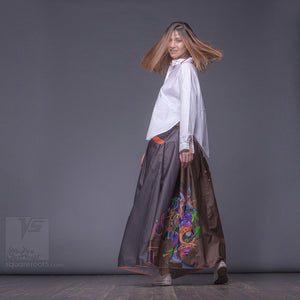 "Long cotton skirt ""Samurai Girl"", model ""Cosmic Ochre"" With avant-garde and colorful print, designed by Squareroot5 wear"