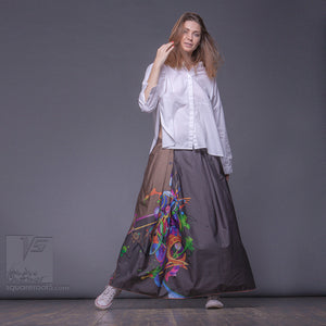 Non traditional maxi Ochre skirt. Japanese stile by Squareroot5 wear