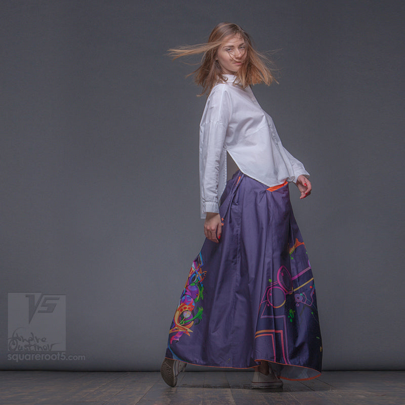 "Long cotton skirt ""Samurai Girl"", model ""Cosmic Dark Violet"" With avant-garde and colorful print, designed by Squareroot5 wear"