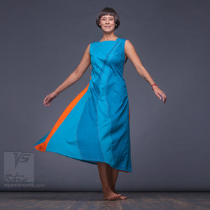 "Bright, long avant-garde summer dress with side pockets ""Water"". Cyan  colors."