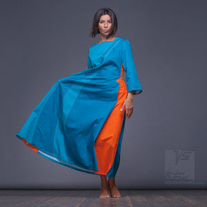 "Cyan dress ""Water"" suitable for expecting mothers."