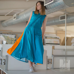 Short sleeve avant-garde Cyan geometric dresses. alternative fashion