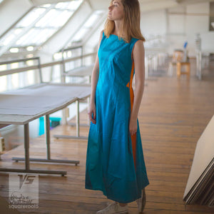 Avant garde festival cyan dress with short sleeves by Squareroot5