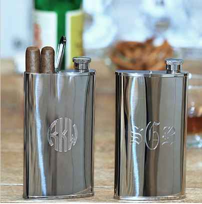 Stainless Steel Flask and Cigar Holder Groomsmen Gifts