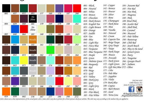 Angelus Paint Color Chart