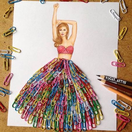 Color Paper Clip Dress