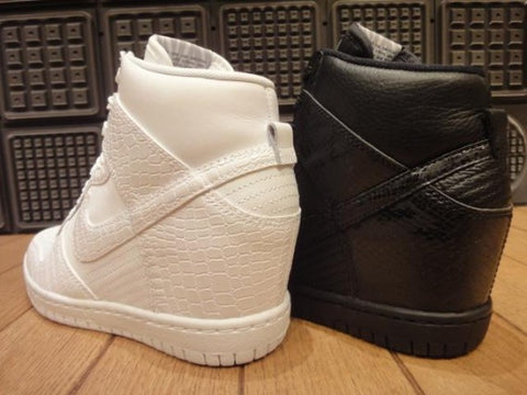 White Nike Cross Snakeskin Dunk Ski Hi Wedge Sneakers