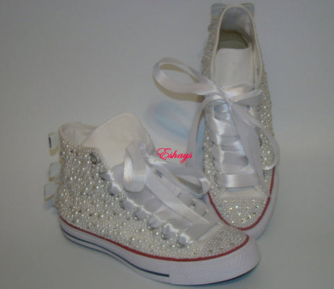 Home › Pearl Crystal Silver Sequin Bow Converse Wedding Prom Sneakers.  Eshays Custom Wedding Shoes 9e10f9e2fc