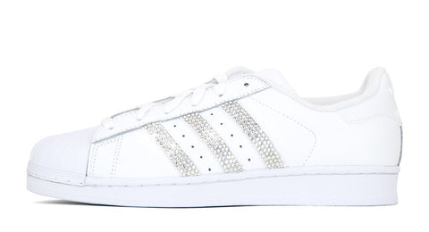 White Adidas Superstar with Rhinestones
