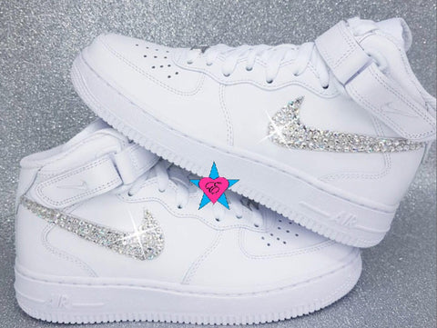 white air force one mid custom swarovski crystal
