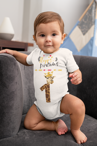 Happy Birthday Giraffe Baby Bodysuit
