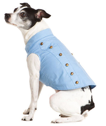 Soft Light Blue Denim Dog Military Style Jacket - Dog Stylish Jacket