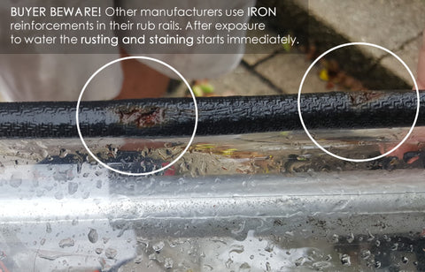 buyer beware! other manufacturers use iron which rusts