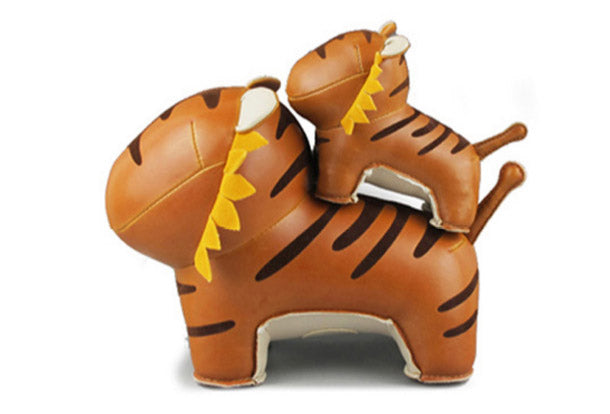 Handmade cute animal leather stuffed tiger home decoration