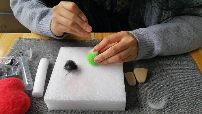 How to make needle felted cute green monster