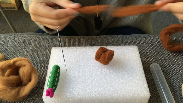 How to make needle felted cute potted cactus