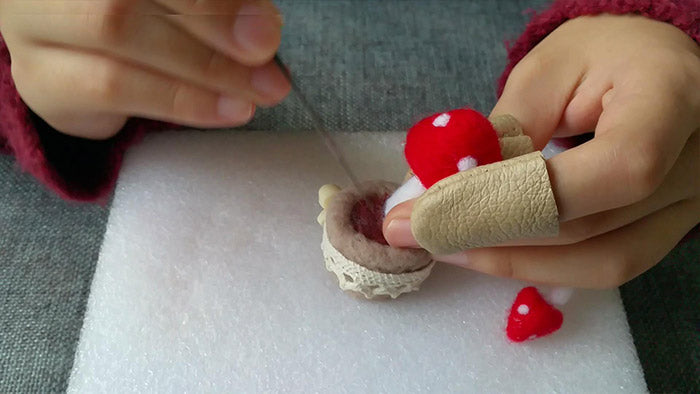 How to make needle felted potted mushroom