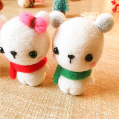 Handmade Needle felted Polar Bear felting kit project Christmas cute for beginners starters
