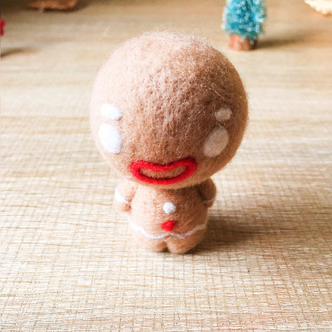 Handmade Needle felted gingerbread man felting kit project Christmas cute for beginners starters