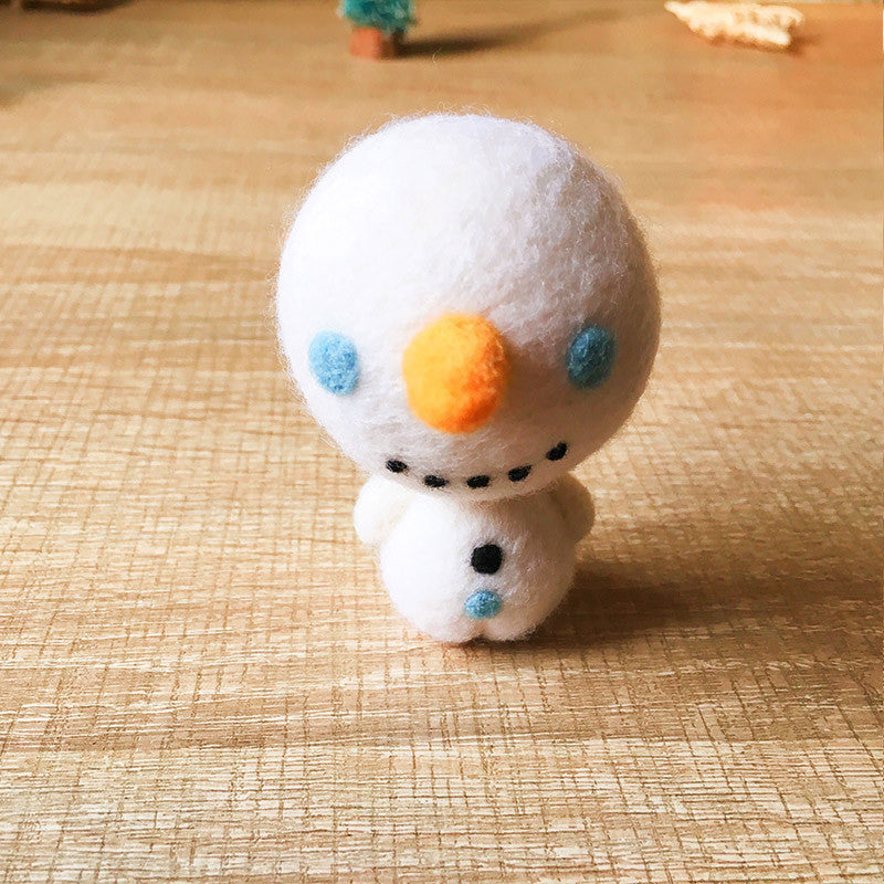 Handmade Needle felted Snowman felting kit project Christmas cute for beginners starters